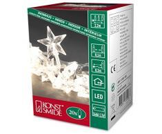 Konstsmide 3181-103 - Guirnalda LED para el árbol de navidad (estrellas acrílicas, 20 diodos de blanco cálido, pilas 3 x AA de 1,5 V)