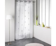 Douceur d Interieur 140 x 240 cm, diseño de Rayas, Cortina de Voile, papilu de plástico Anillos, Blanc White