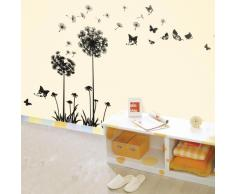 Walplus - Pegatinas decorativas para pared despegables (PVC), diseño de dientes de león, color negro