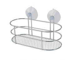 MSV 140607 - Estantería ducha, oval, con ventosas, cromo-metálico, 20 x 0,1 x 9,5 cm