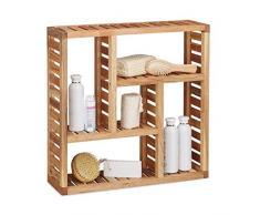 Relaxdays. Armario de pared con 5 compartimentos, para el baño, pasillo y salón, tamaño: 50 x 15 cm, color natural, de madera