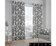 Fusion Brooklyn Dos Paneles de Cortina, 100%, Forro: 52% poliéster y 48% algodón, Gris, Curtains: 66 Width x 54 Drop (168 x 137cm)