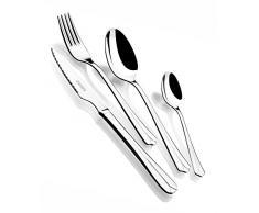 Monix Oslo - Set 49 piezas cubiertos de acero inox 18/10 con cuchillo chuletero y estuche Nogal (12 comensales)