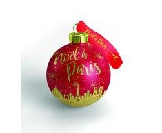 Papá Noel en París, Lote de 10 Bolas de Navidad, París Rojo/Dorado, 7,5 cm