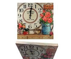Reloj de pared de madera 40 x 40 cm cocina modern Paris Nostalgia XXL