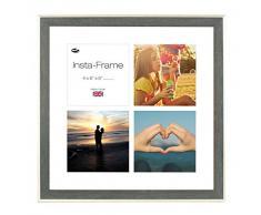 Inov8 16 x 40,64 cm Insta-Frame Austen Marco para Instagram 4/de Estampado a Cuadros de Fotos con paspartú Blanco y Blanco con Borde, Gris Plateado