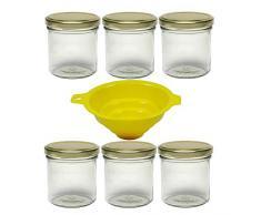 Viva Haushaltswaren # 61824Â # 6Â tarros 165Â ml, Mermelada tarros, (con Rosca en Color Oro, Incluye Embudo de conservas Gas, Cristal, Transparente, 6.3Â x 6.3Â x 7.3Â cm