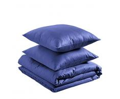 AmazonBasics - Juego de funda nórdica ligera de algodón - 155 x 200 cm / 80 x 80 cm, Azul marino