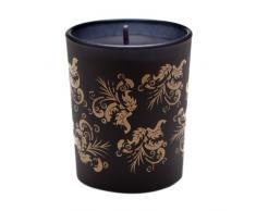 Shearer Candles Amber Noir - Vaso con vela, diseño de patrón de hojas, color negro y dorado