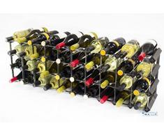 Cranville Wine Racks Classic 30/40 Botella de Armario Superior Madera Teñida de Negro y Botellero de Metal Montada