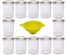 Viva Haushaltswaren - Tarros de Cristal para Mermelada (12 Unidades Capacidad de 219 ml Incluye Tapa de Color Plateado y Embudo de Color Amarillo)