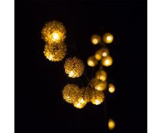 H&D Youngsun Cadena de 30 luces LED solares con bolas de metal, 6,35 metros, para exterior, interior, jardín, blanco cálido, metal, pompón, fiesta, decoración, Navidad, boda, iluminación