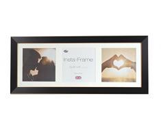 Inov8 21 x 20,32 cm Insta-Frame Marco para Instagram 3/de Estampado a Cuadros de Fotos con paspartú Blanco y Blanco con Borde, 2 Unidades, Madera de Fresno/con Borde Plateado