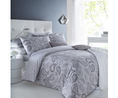 Sleepdown Paisley Grey Juego de Funda de edredón tamaño King, algodón, Gris, Matrimonio