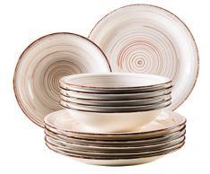 Domestic by Mäser Serie Bel Tempo, Vajilla 12 Piezas, para 6 Personas, Porcelana, 30 x 40 x 40 cm, 12 Unidades, Porcelana, Beige, 30 x 40 x 40 cm