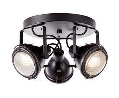 Brilliant Bentli Spotrondell - Lámpara de techo (3 focos, orientable, aspecto industrial envejecido, 3 bombillas GU10 adecuadas para lámparas reflectoras de hasta máx. 7 W.