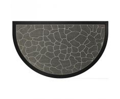 Deco Tapis 1740256, Tapete Entrada Media Luna, 45 X 75 Cm, Demi,Lune Galets, Alfombra De Entrada, Gris