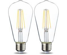 AmazonBasics Bombilla LED Esférica E27 Vintage Edison, ST64, 7W (equivalente a 60W), Filamento - 2 unidades