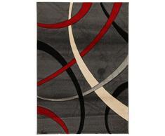 ABC Tappeti Alfombra Terra Gris Oscuro/Rojo 120 x 170 cm