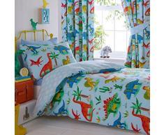 Juego de Funda de edredón y Funda de Almohada para Cama Infantil, diseño de Dinosaurios, poliéster, Color Azul, tamaño Individual