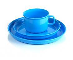 Kimmel 21-000-2008-5 - Juego de taza y plato infantil (plástico), color azul claro