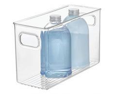 InterDesign Linus Caja organizadora para cuarto de baño, organizador de cajones mediano de plástico con asas, transparente