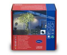 Konstsmide 3632-110 - Guirnalda de micro LED (180 diodos de luz blanca cálida, varias funciones, transformador exterior 24 V, 5,4 W, cable negro)