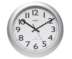 Unilux Wave Quartz wall clock Círculo Acero inoxidable, Color blanco - Reloj de pared (AA, 1,5 V, Acero inoxidable, Color blanco, Acero inoxidable, Vidrio, 42 mm)