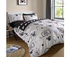 Dreamscene – Juego de cama de funda de edredón con funda de almohada Pug perro walkies – King