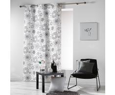 Cortina con Ojales con Mandalas, de la Marca Coton d'Intérieur, algodón, Gris, 140 x 240 cm