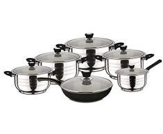 Swiss Home Zurich - Batería de cocina de 12 piezas en acero inoxidable, color negro