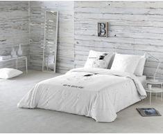 La Volátil Hoy me quedo aquí Funda nórdica, 100% algodón, Blanco, Cama 150 cm, 1800