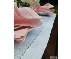 1 unidad. Camino de mesa Emilia de lino. Color blanco. LinenMe 40 x 250 cm.