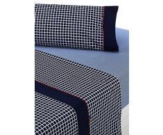 SABANALIA - Juego de sábanas Estampadas Shirt (Disponible en Varios tamaños y Colores), Cama 200, Azul