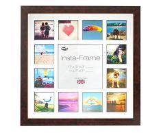 Inov8 16 x 40,64 cm Insta-Frame Marco para Instagram 13/DE Estampado a Cuadros de Fotos con paspartú Blanco y Negro con Borde, 2 Unidades, Madera de Nogal Brillante