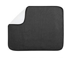 InterDesign iDry Tapete de cocina, alfombrilla escurreplatos grande y fina fabricada en poliéster para un secado de platos rápido, negro/blanco