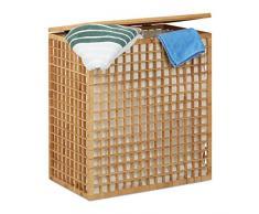 Relaxdays Cesto para Colada Doble de 96L, Bambú, Beige, 62 x 56 x 35 cm