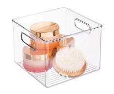 InterDesign Linus Caja organizadora para Cuarto de baño, Organizador de cajones Cuadrado de plástico con Asas, Transparente