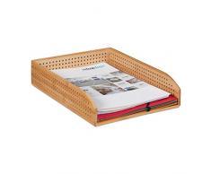 Relaxdays – Los Documentos bambú, Perforado, apilable, A4, Escritorio Estante, Oficina, HBT: Aprox. 7 X 25 X 33, Natural