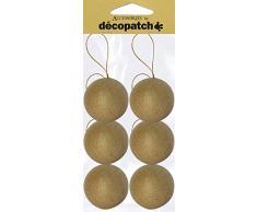 Decopatch - Juego de Adornos para árbol de Navidad con Cordel para Colgar (diámetro de 6,5cm, Papel maché, 6 Unidades)