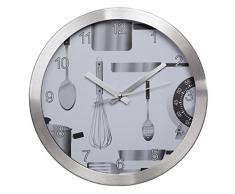 Hama AG-300 - Reloj de pared (AA, Plata, Aluminio, Vidrio)