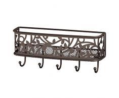 iDesign Cuelga llaves con 5 ganchos, pequeño llavero de pared de metal con estante, portacartas decorativo para notas y correo, color bronce