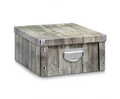 Zeller 17868 - Caja de almacenaje de cartón, 40 x 33 x 17 cm, diseño tipo madera