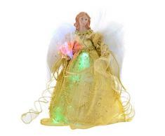 WeRChristmas – Figura decorativa de Navidad (30 cm de fibra óptica árbol de Navidad (30 cm, diseño de ángel con alas de pluma para, oro
