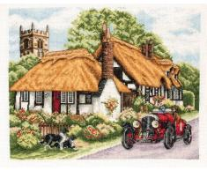 Anchor Village of Welford- Kit de punto de cruz, diseño de casa con coche y perro