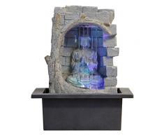 ZenLight Buda Cortina de agua - fuente de polirresina gris/negro, 21 x 21 x 25 cm