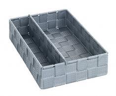 Wenko Adria caja de almacenamiento de cocina, de plástico, gris, plástico, gris, 26 x 18 x 6 cm