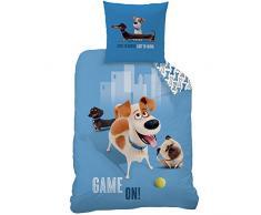 CTI 043991 Pets MAX Funda Nórdica de 140 x 200 cm y Funda de Almohada de 63 x 63 cm algodón Azul