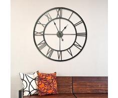 Walplus 51-JNPB-A5RX - Reloj romano de pared, hierro, color negro