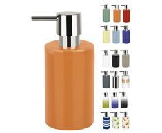 Spirella colección Tube, Dispensador de jabón líquido 7,0 x 7,0 x 16,0 cm, Gres, Naranja